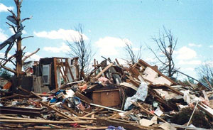 Tornado aftermath and damage